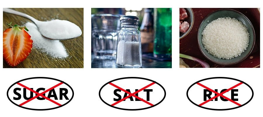 avoid salt sugar rice to reduce face fat