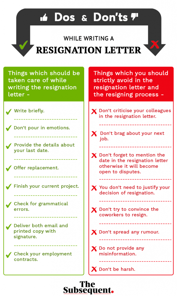 dos and don'ts while writing a resignation letter