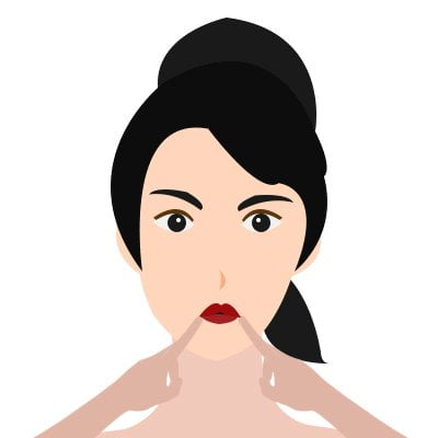 Lips Down pull facial exercise for face fat loss